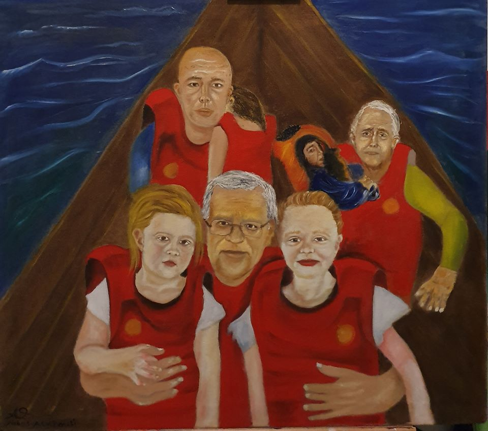 This painting depicts current and former Australian politicians in a small boat in the water, all wearing orange lift-jackets and holding their children in their arms. At the front, Prime Minister Scott Morrison holds his two daughters. At the back left Minister for Home Affairs, Peter Dutton carries a limp child over his shoulder and to his right, former Prime Minister Malcolm Turnbull carries a small, scared child in his arms. The viewer looks down on the group who look exhausted and scared.