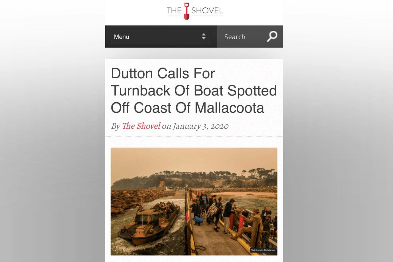 Screenshot of an article featured on 'The Shovel' webpage. The headline reads 'Dutton Calls For Turnback Of Boat Spotted Off Coast Of Mallacoota' and shows a photo of people gathered on a jetty with naval ships approaching and an ominous red-grey sky.
