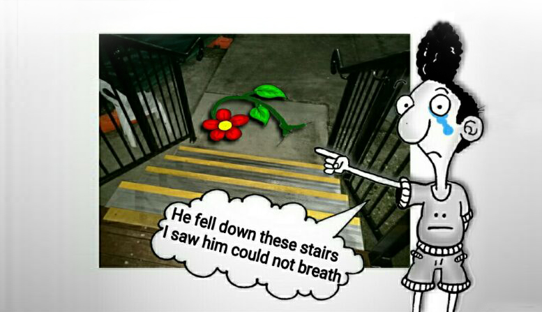 "Artwork by Eaten Fish. Eaten fish weeps and points to a flower at the bottom of a flight of stairs, text reads ""He fell down these stairs I saw him could not breath""."