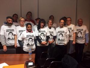 Activists gather wearing Justice for Reza Barati t-shirts, 2014. Refugee Action Coalition Victoria.