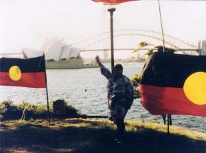 Ruby Langford Ginibi's protest on 26th January 1988 at Mrs MacQuarie's Chair in the Domain, the Bicentennial Year 1988.