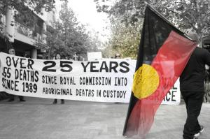 Large banner held up while marching through mall at National Day of Emergency: 25 Years since the RCIADIC, Whadjuk Country (Perth), 15 April 2016
