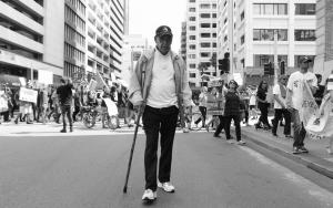 Elder Uncle Ben Taylor marching at National Day of Emergency: 25 Years since the RCIADIC, Whadjuk Country (Perth), 15 April 2016