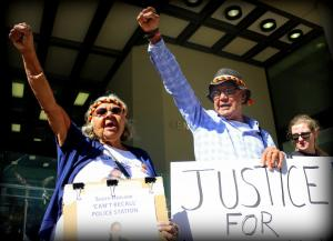 Nana Carol Roe and Uncle Ben Taylor outside Perth Coroner's Court, Whadjuk Country (Perth), 16 December 2016