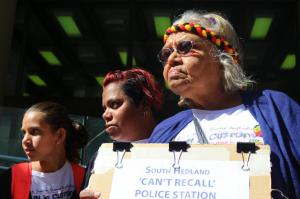 Ms Dhu's Nana, cousin and Sister outside the Perth Coroner's Court, Whadjuk Country (Perth), 16 December 2016