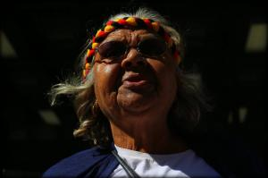 Ms Dhu's Nana Aunty Carol Roe outside the Perth Coroner's Court on day Inquest Findings are handed down, Whadjuk Country (Perth), 16 December 2016