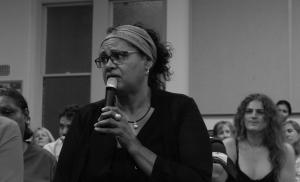 Carolyn Lewis speaking from the floor at Aboriginal Lives Matter Forum, Whadjuk Country (Perth), 16 March 2016