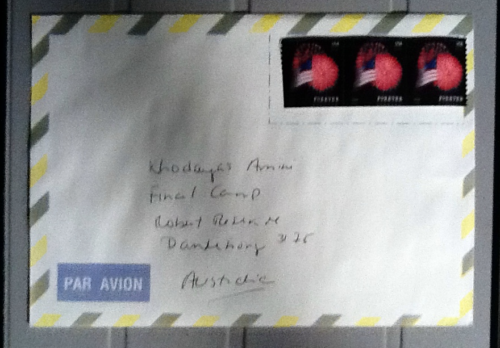 Dead Letter Envelope addressed to Khodayar Amini's Final Camp, Narrm/Melbourne, 2016.