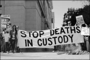 'Stop Deaths in Custody' banner at Say Their Names, Whadjuk Country (Perth), 22 October 2016