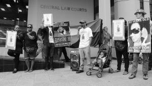 Ms Dhu's Uncle, Shaun Harris speaks outside Perth Coroner's Court, Whadjuk Country (Perth), 23 March 2016