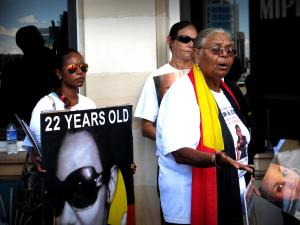Aunty Carol Roe speaks outside Parliament House, Whadjuk Country, 25 February 2015