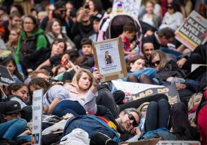 Die-in at Black Lives Matter rally, Whadjuk Country (Perth), 25 July 2016
