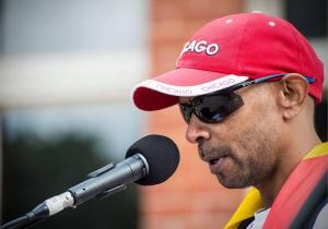 Shaun Harris speaking at Black Lives Matter rally, Whadjuk Country (Perth), 25 July 2016