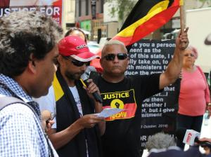 Ms Dhu Uncle, Shaun Harris speaking outside court before Coronial Inquest begins, Whadjuk Country (Perth), 28 November 2015