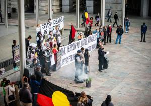 Overhead view of crowd gathered to mark the Anniversary of Ms Dhu's death in custody, Whadjuk Country (Forrest Place, Perth), 4 August 2015