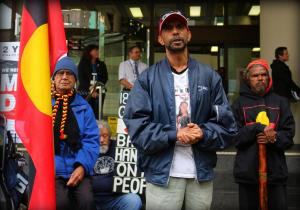 Ms Dhu's Uncle, Shaun Harris speaks outside court on two year anniversary of Ms Dhu's death in custody, Whadjuk Country (Perth), 2016