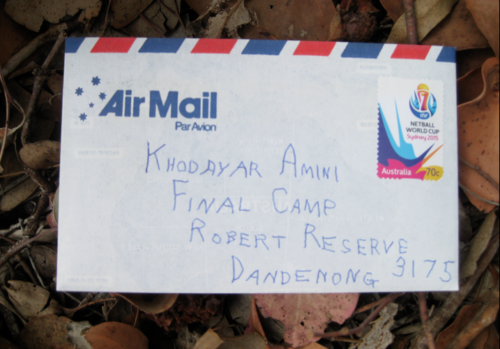 Dead Letter Envelope addressed to Khodayar Amini's Final Camp, Narrm/Melbourne, 2015.
