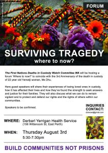 'Surviving Tragedy: where to now?' forum, Whadjuk Country, 3 August 2017