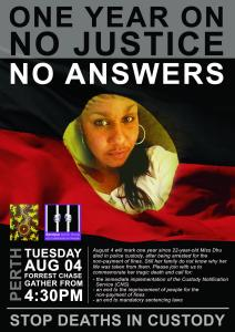 One Year On, No Justice, No Answers flyer, 4 August 2015