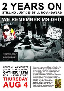 2 Years On flyer: we remember Ms Dhu, 4 August 2016