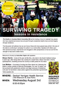 Surviving Tragedy: Lessons in Resistance Forum flyer, 3 August 2016