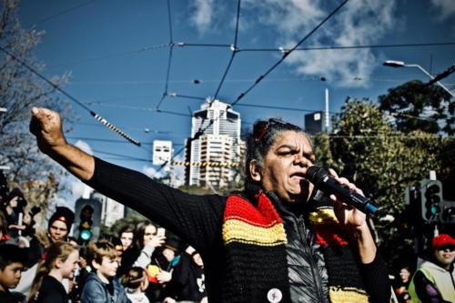 Aunty Reio Ellis at NAIDOC VIC March #BecauseOfHerWeCan, Naarm, 2018