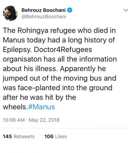 Behrouz Boochani, Twitter, 22 May 2018.