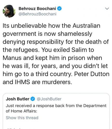 Behrouz Boochani, Twitter, 23 May 2018.