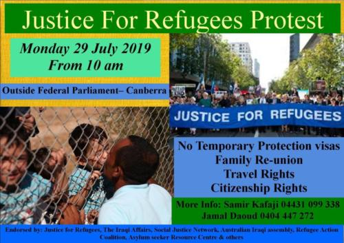 Canberra Protest Flyer, English.