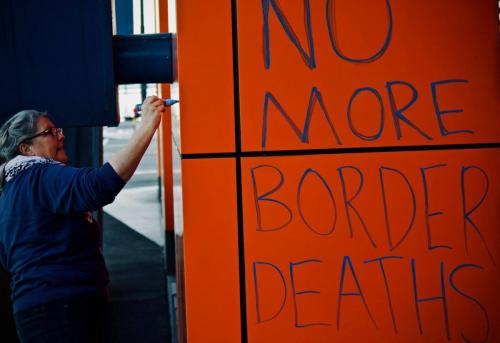 'No more border deaths' written on wall at WACA Border Force Protest, Narrm, Kulin Nations (Melbourne), 2018. Photo: Charandev Singh.