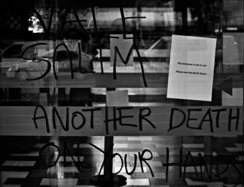 'Vale Salim another death on your hands' written on window at WACA Border Force Protest, Narrm, Kulin Nations (Melbourne), 2018. Photo: Charandev Singh.