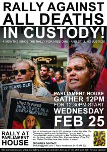 Rally Against All Deaths in Custody flyer, 25 February 2015