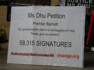 Change.org petition with 59,315 signatures delivered to Parliament, Whadjuk Country (Perth), 2015.