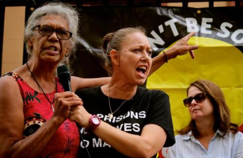 Aunty Jenny Munro and Helen Eason, Grandmothers Against Removals Rally, Gadigal Country, 2018.