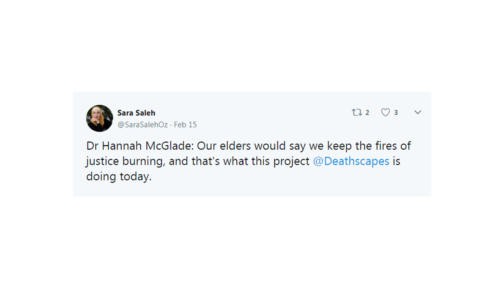 Hannah McGlade Quote in @SaraSalehOz Twitter post.