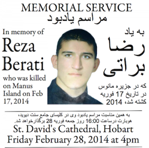 Flyer for memorial service for Reza Barati at St David's Cathedral, Hobart, 2014.