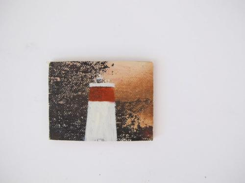 148 miniature paintings of lighthouses of Australia various dimensions, Triptych, charcoal and water colour on paper