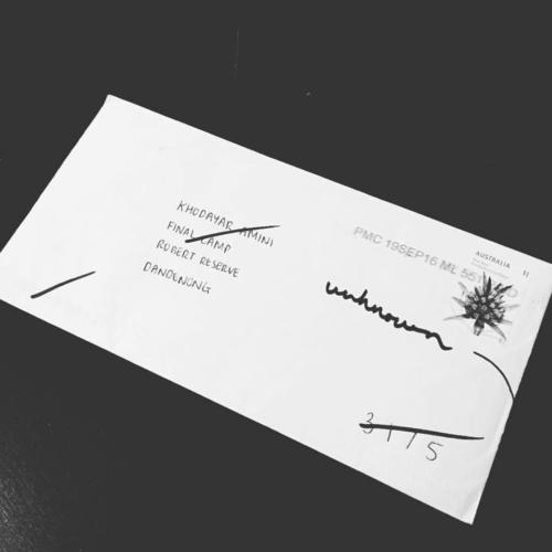 Dead Letter Envelope addressed to Khodayar Amini's Final Camp, returned address unknown, Perth, 2016.
