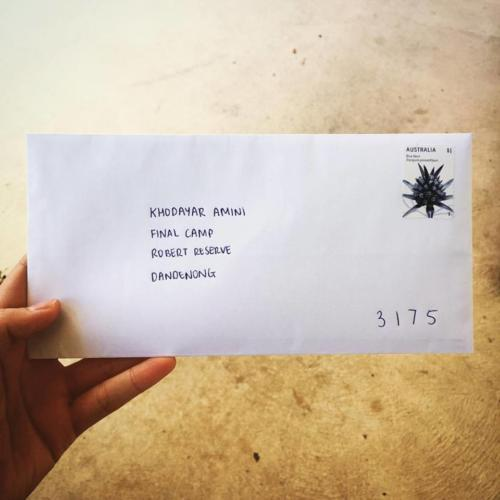 Dead Letter Envelope addressed to Khodayar Amini's Final Camp, Perth, 2016.