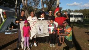 Ms Dhu's Nana Carol Roe with supporters at the Nyoongar Tent Embassy, Matagarup, Whadjuk Country, 2015.