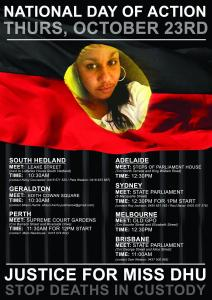 National Day of Action Flyer, 23 October 2014. Actions held in South Hedland, Geraldton, Perth, Adelaide, Sydney, Melbourne and Brisbane.