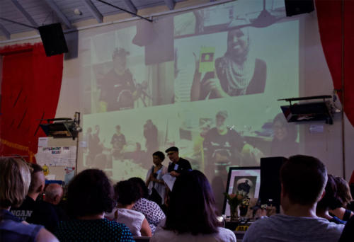 Suvendrini Perera and Joseph Pugliese speaking on the work of Uncle Ray Jackson and the Aboriginal Passport Ceremonies he hosted, The Settlement, Gadigal Country, 2019.
