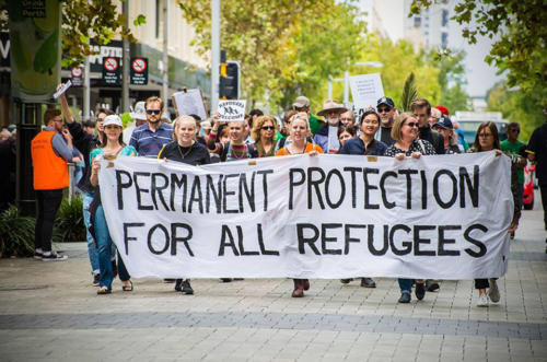 Permanent Protection for all Refugees banner at Palm Sunday Walk for Justice, Whadjuk Nyoongar Country (Perth), 2018.
