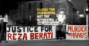 'Justice for Reza Berati' and 'Murder on Manus' banners held at 'Stop Torture On Manus' Protest, Perth, 2015.