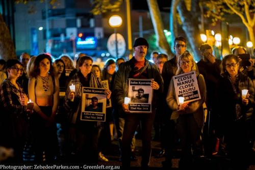 People gather at candlelight vigil for Salim, Sydney, 2018. Photo: Zebedee Parkes.